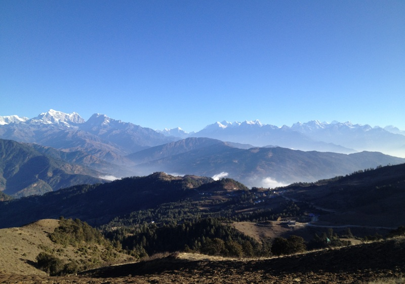 View of Everest Himalaya Range & hill village -  himaland.com