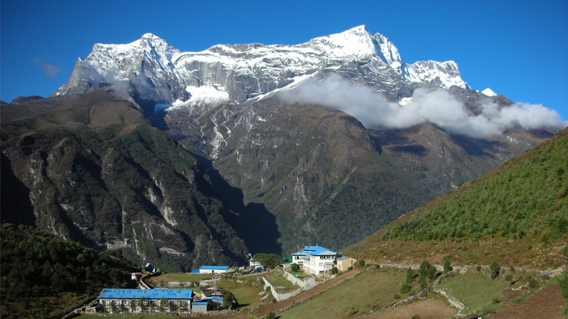 Sherpa village and Himalayan peaks  -  himaland.com
